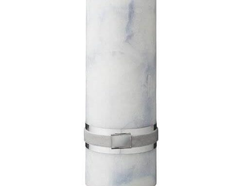 Blue Marble Pillar Candle 20cm x 7cm