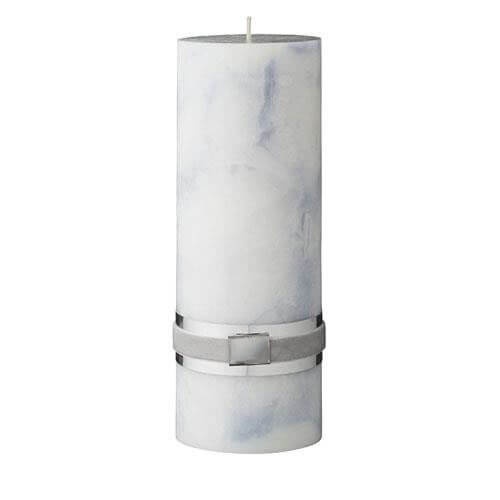 Blue Marble Pillar Candle 20cm x 7cm - Blue Marble Pillar Candle 20cm x 7cm