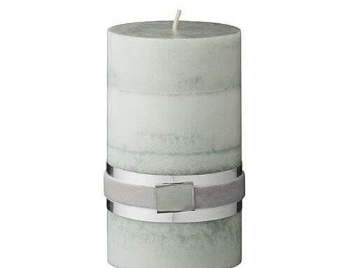 Green Layered Pillar Candle 12cm x 7cm