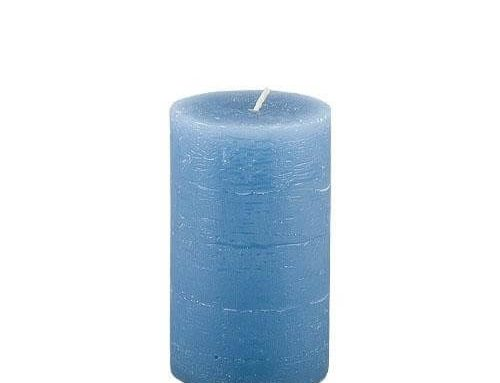 Rustic Blue Pillar Candle 10cm x 6cm