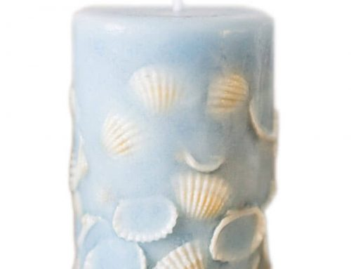 Seashell Pillar Candles 10cm x 7cm